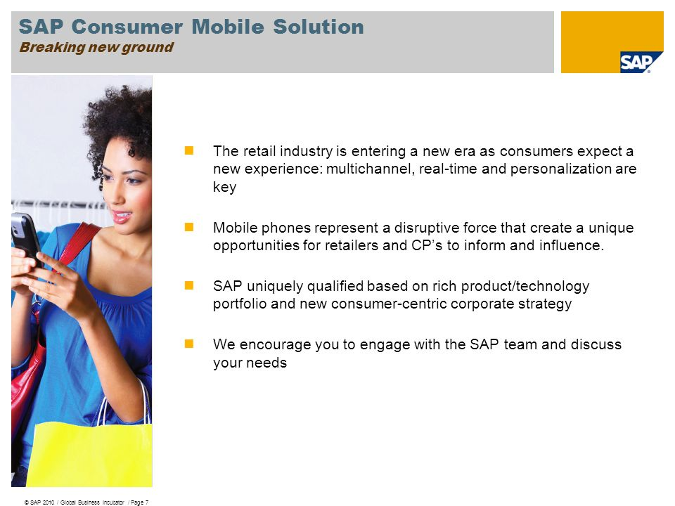 SAP Consumer Mobile Solution Breaking new ground