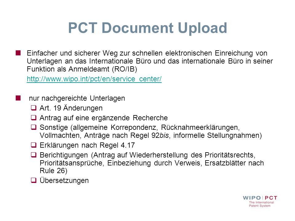 PCT Document Upload