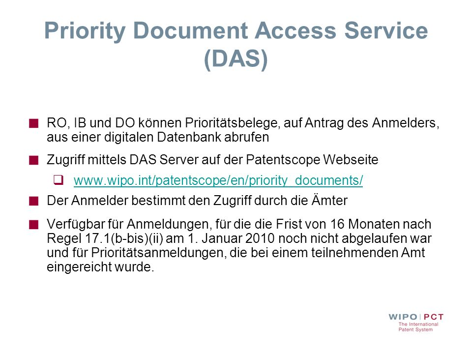 Priority Document Access Service (DAS)