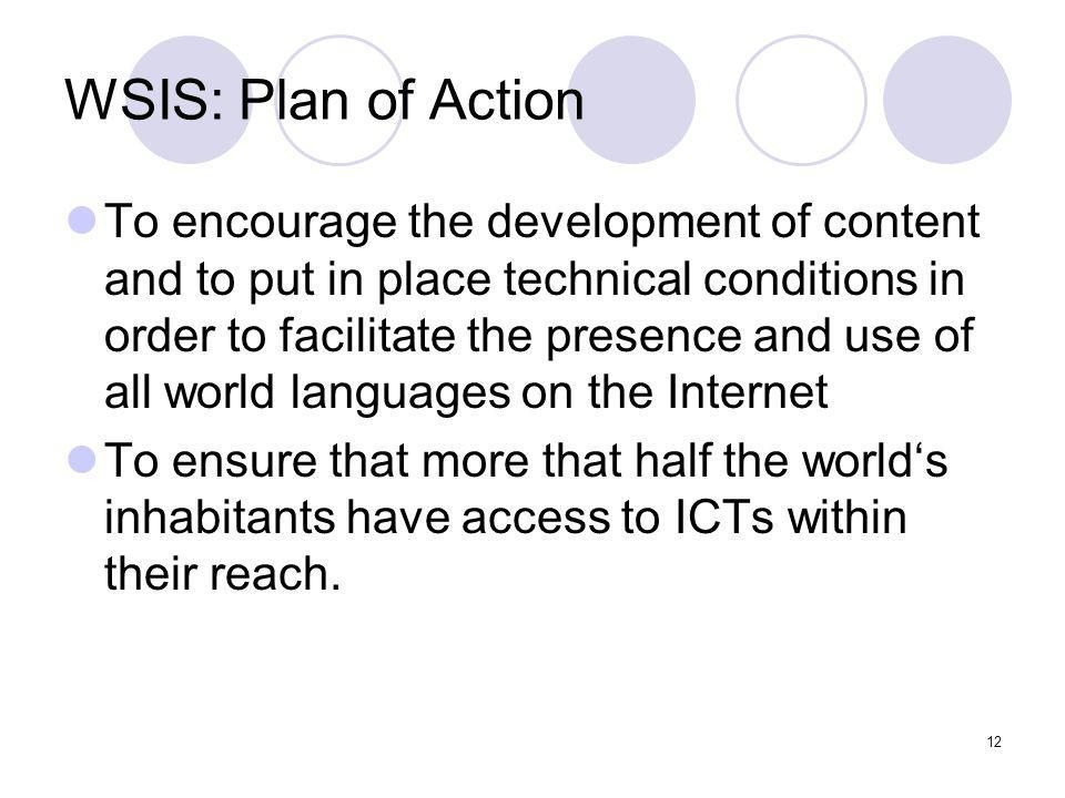 WSIS: Plan of Action