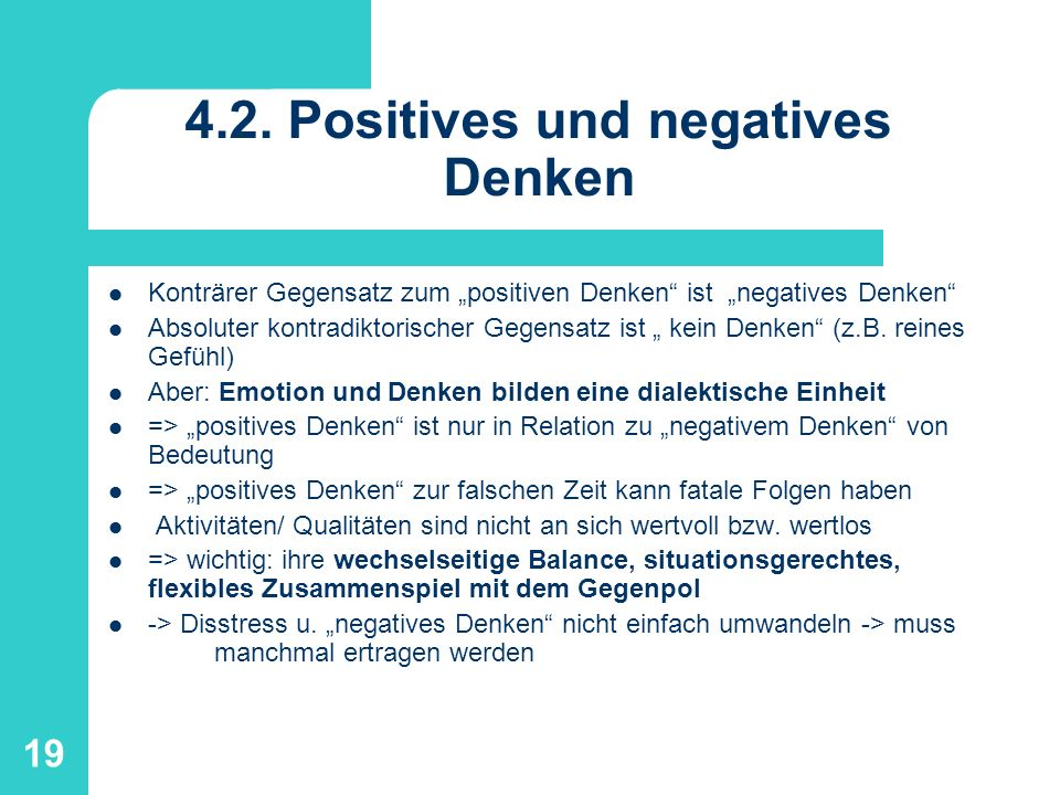4.2. Positives und negatives Denken