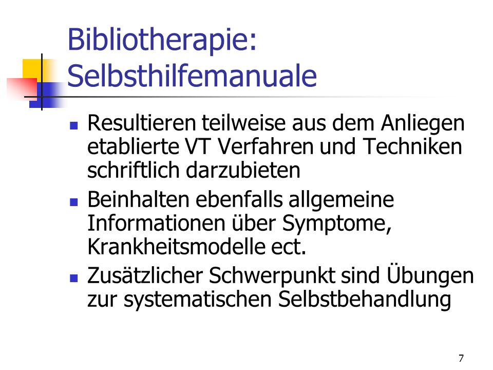 Bibliotherapie: Selbsthilfemanuale