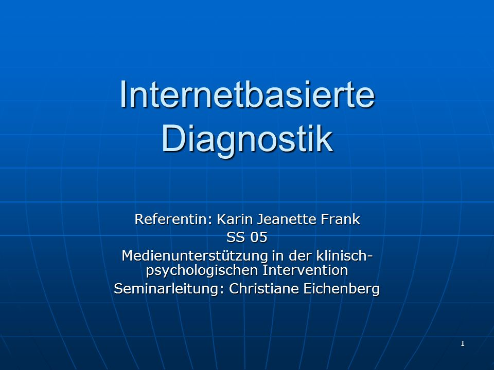 Internetbasierte Diagnostik