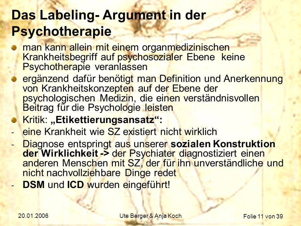 Das Labeling- Argument in der Psychotherapie