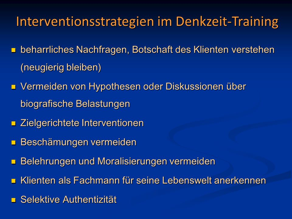 Interventionsstrategien im Denkzeit-Training