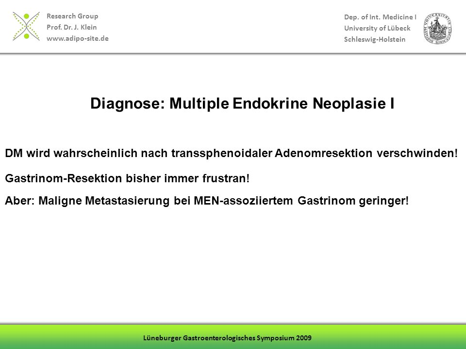 Diagnose: Multiple Endokrine Neoplasie I