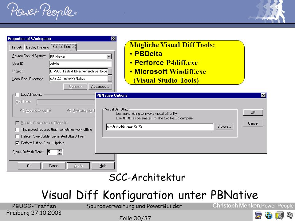 SCC-Architektur Visual Diff Konfiguration unter PBNative