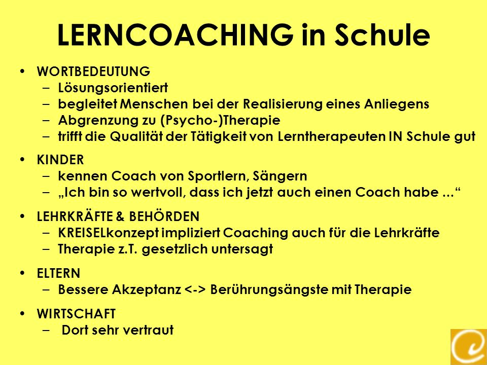 LERNCOACHING in Schule