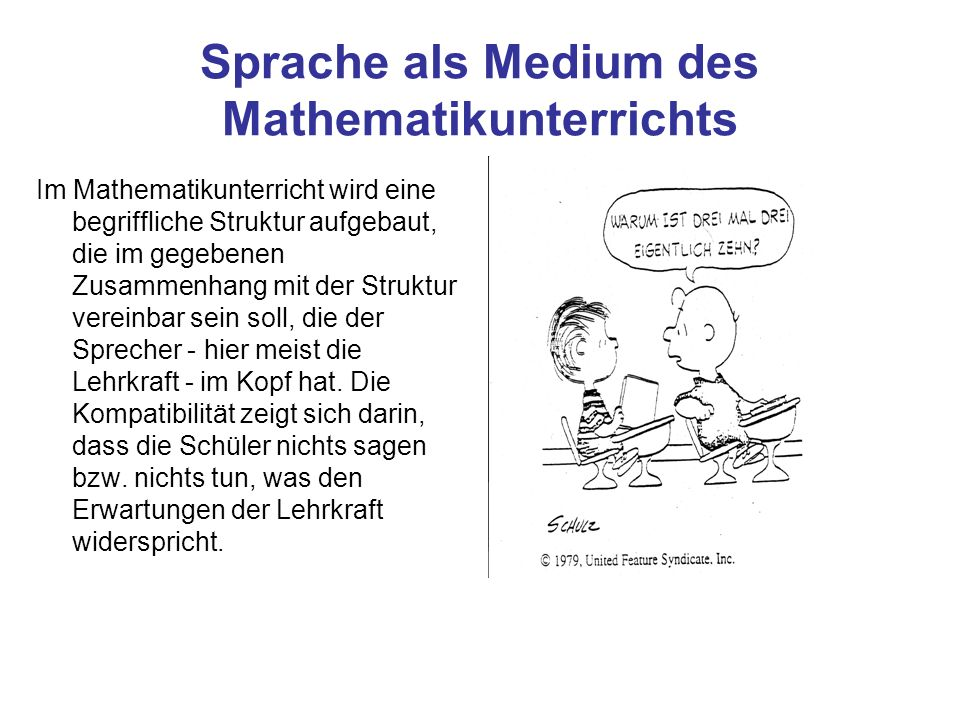 Sprache als Medium des Mathematikunterrichts
