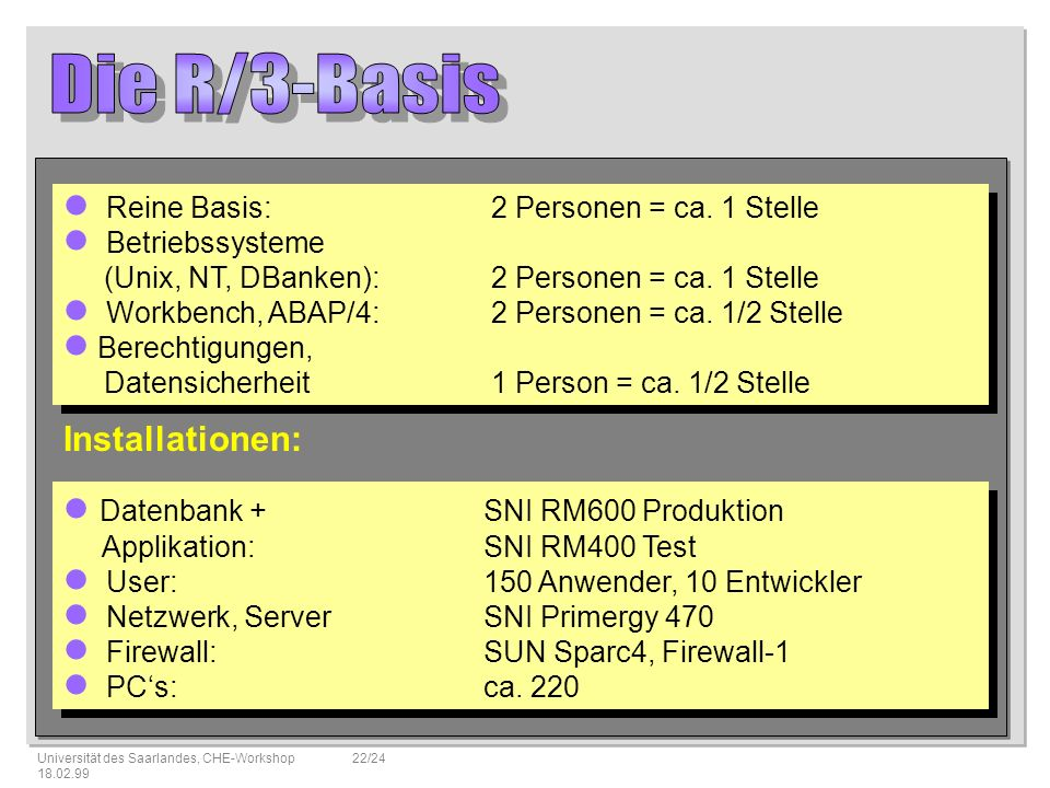 Die R/3-Basis Installationen: Datenbank + SNI RM600 Produktion
