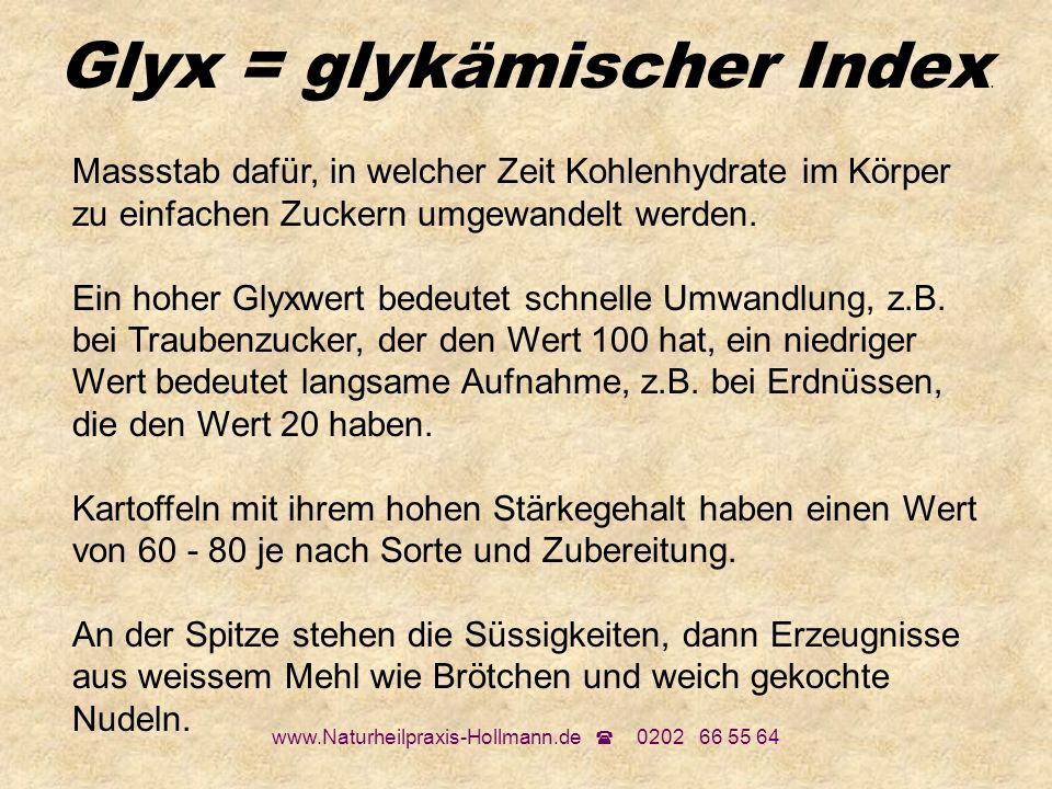Glyx = glykämischer Index.