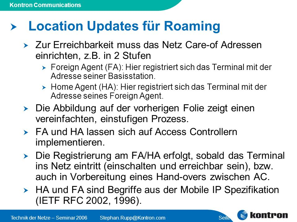 Location Updates für Roaming