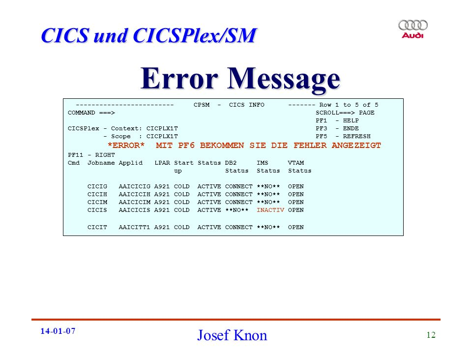 Error Message CPSM - CICS INFO Row 1 to 5 of 5.