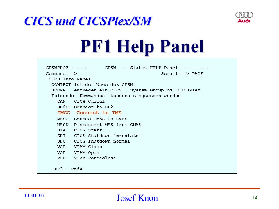PF1 Help Panel CPSMPHO CPSM - Status HELP Panel