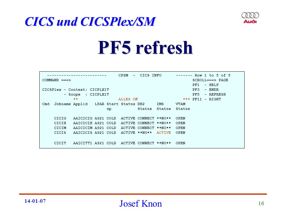 PF5 refresh CPSM - CICS INFO Row 1 to 5 of 5.