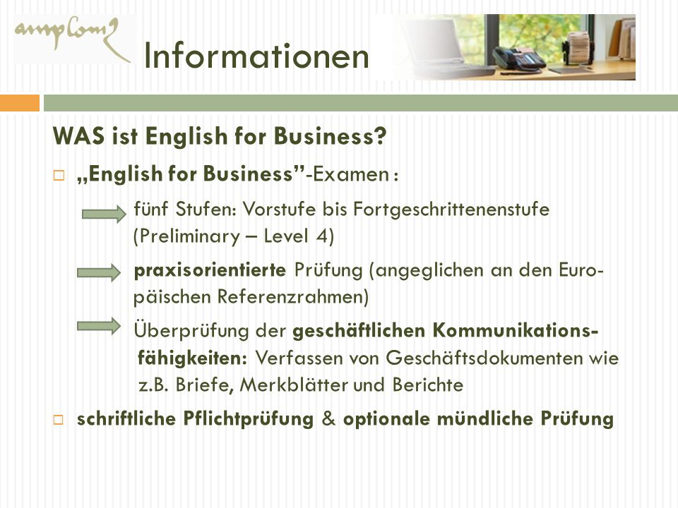 Informationen WAS ist English for Business