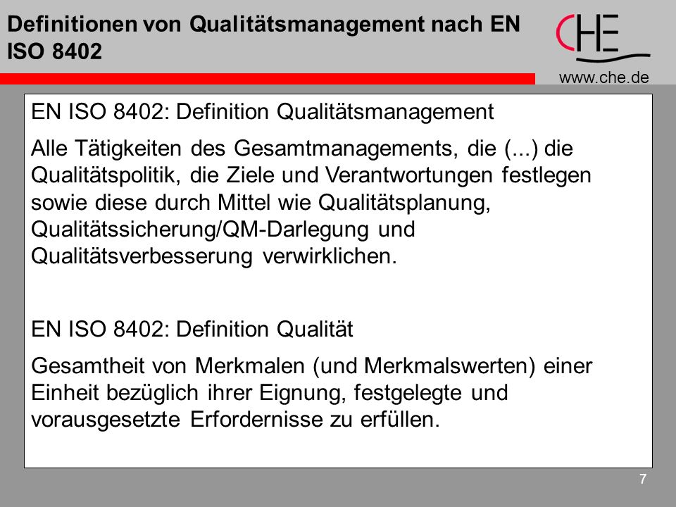 Definitionen von Qualitätsmanagement nach EN ISO 8402