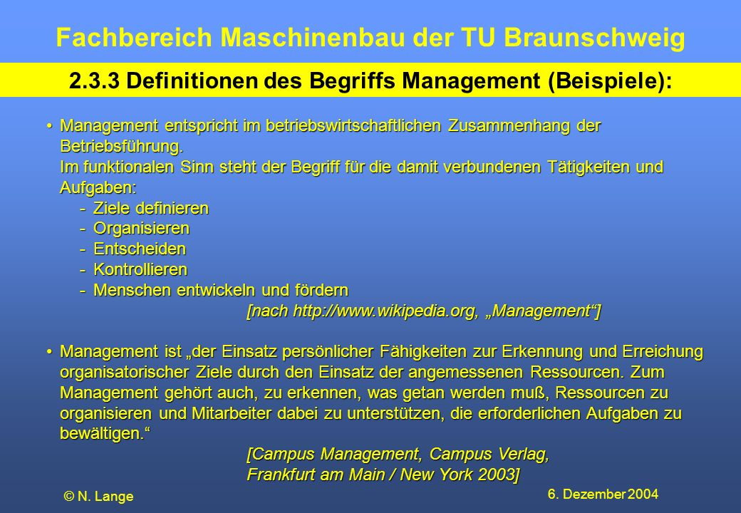 2.3.3 Definitionen des Begriffs Management (Beispiele):