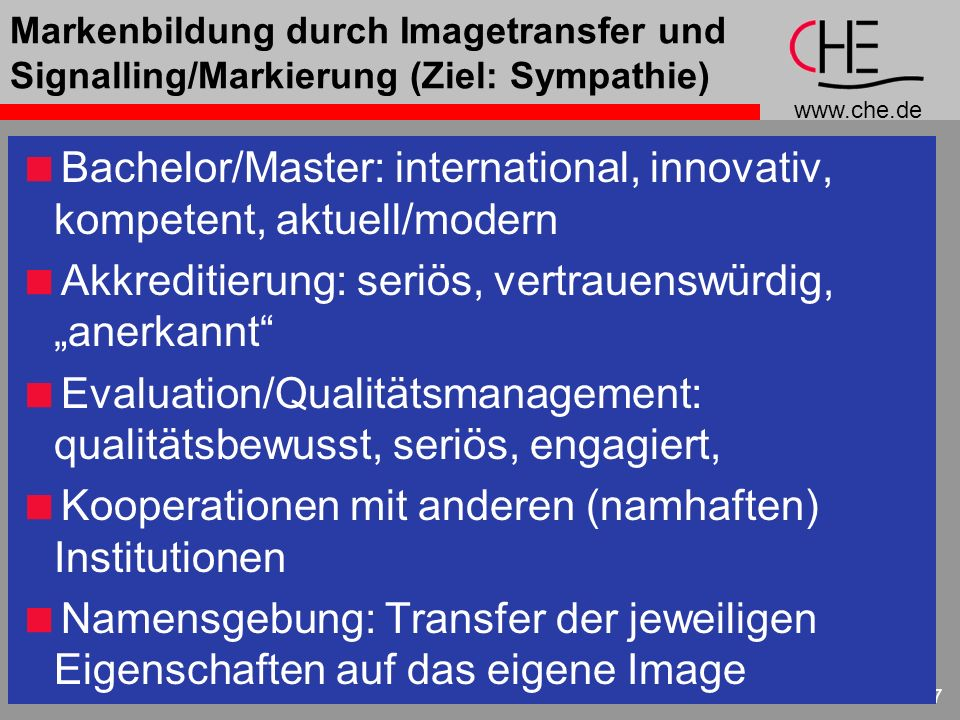 Bachelor/Master: international, innovativ, kompetent, aktuell/modern