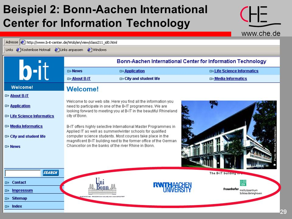 Beispiel 2: Bonn-Aachen International Center for Information Technology