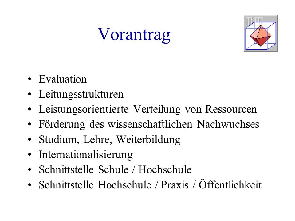 Vorantrag Evaluation Leitungsstrukturen