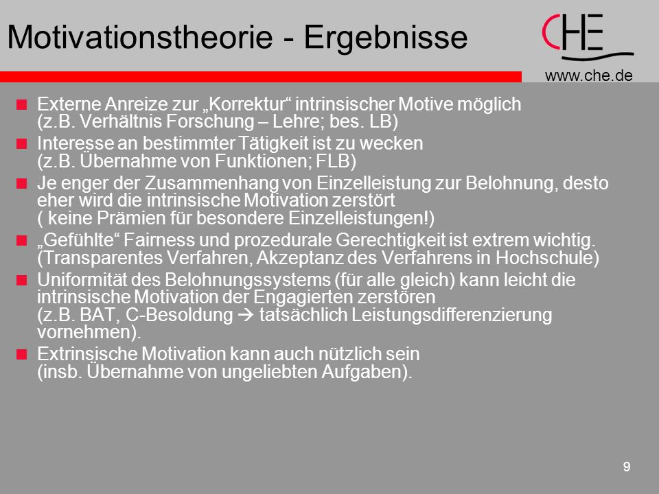Motivationstheorie - Ergebnisse