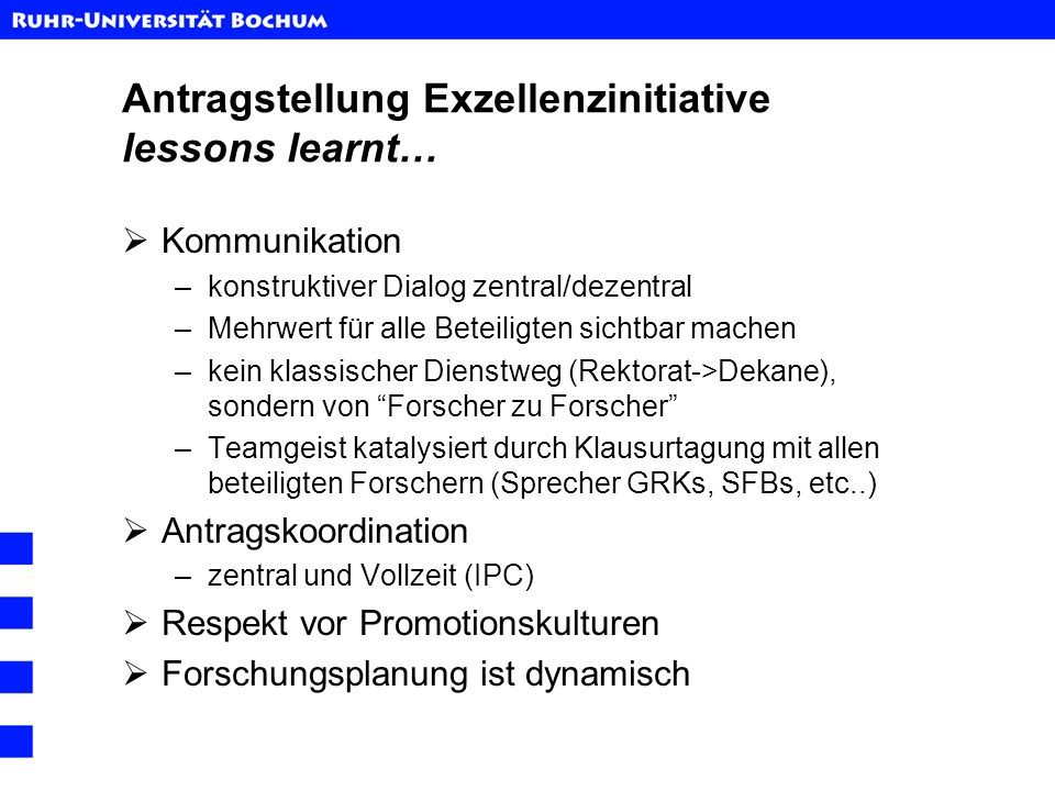 Antragstellung Exzellenzinitiative lessons learnt…