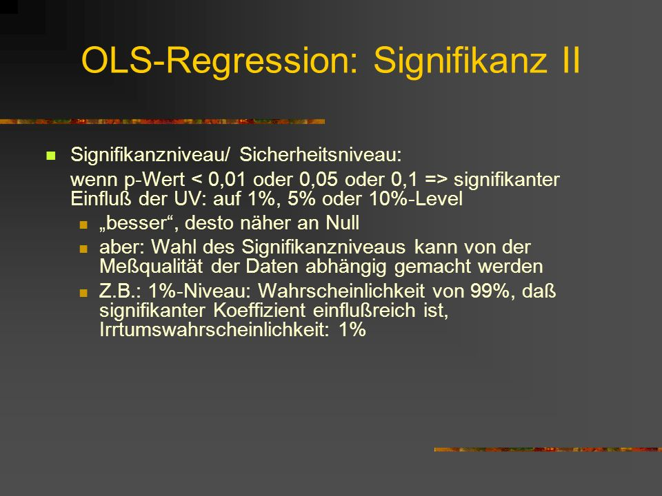 OLS-Regression: Signifikanz II