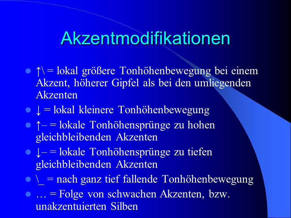 Akzentmodifikationen