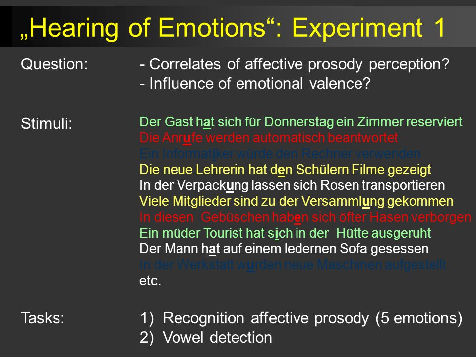 """Hearing of Emotions : Experiment 1"