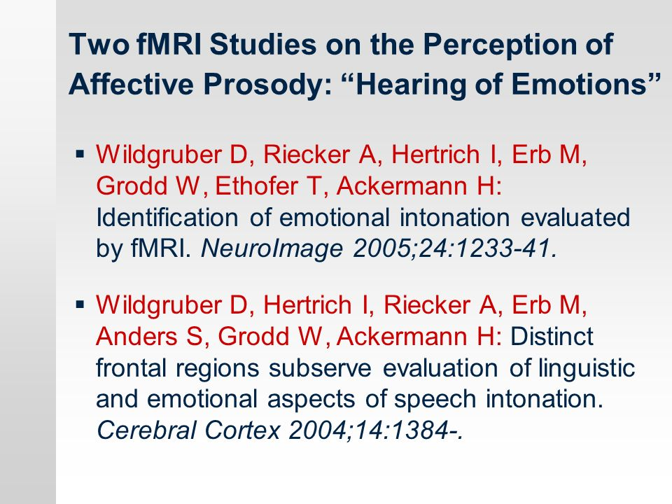 Two fMRI Studies on the Perception of Affective Prosody: Hearing of Emotions