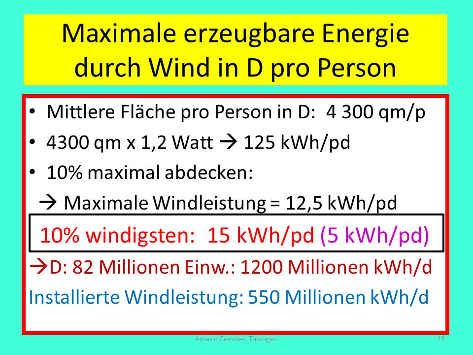 Maximale erzeugbare Energie durch Wind in D pro Person