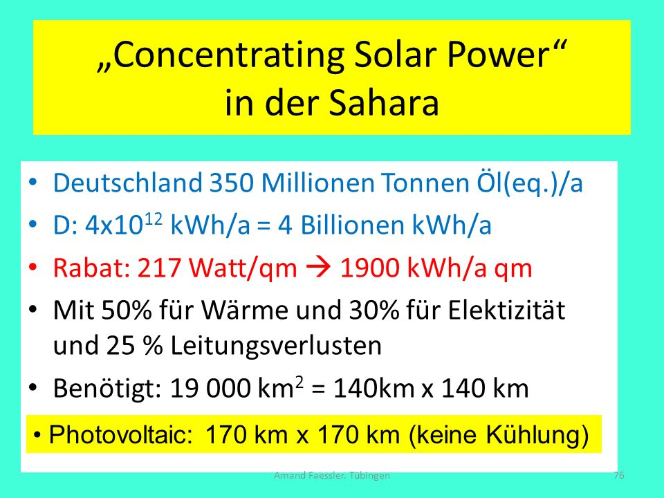 """Concentrating Solar Power in der Sahara"