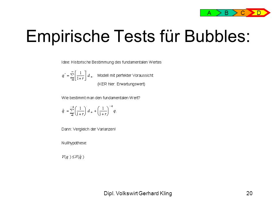 Empirische Tests für Bubbles: