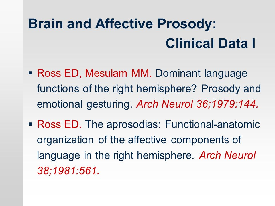 Brain and Affective Prosody: Clinical Data I