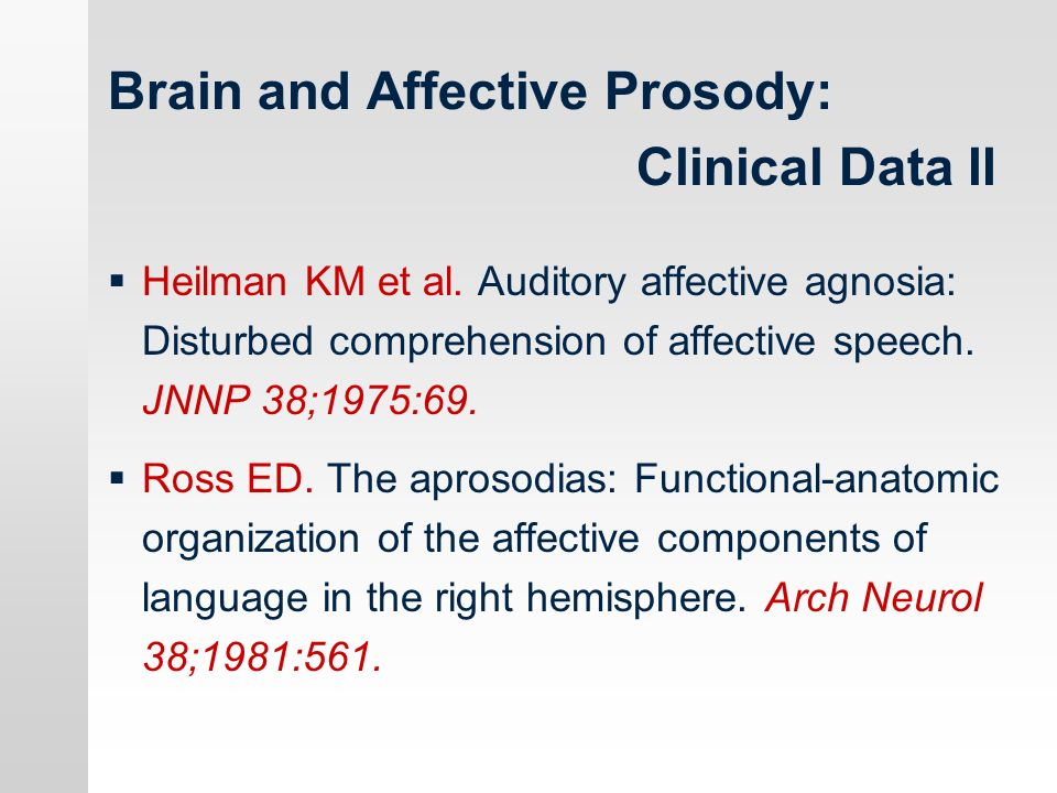 Brain and Affective Prosody: Clinical Data II