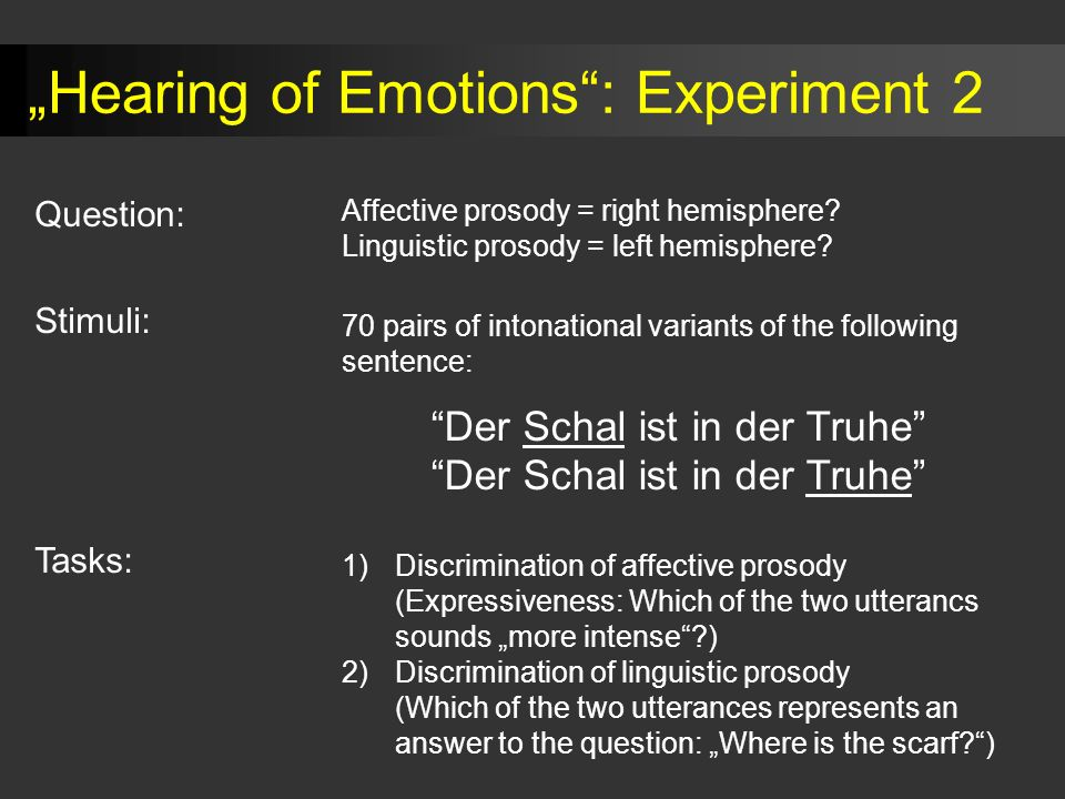 """Hearing of Emotions : Experiment 2"