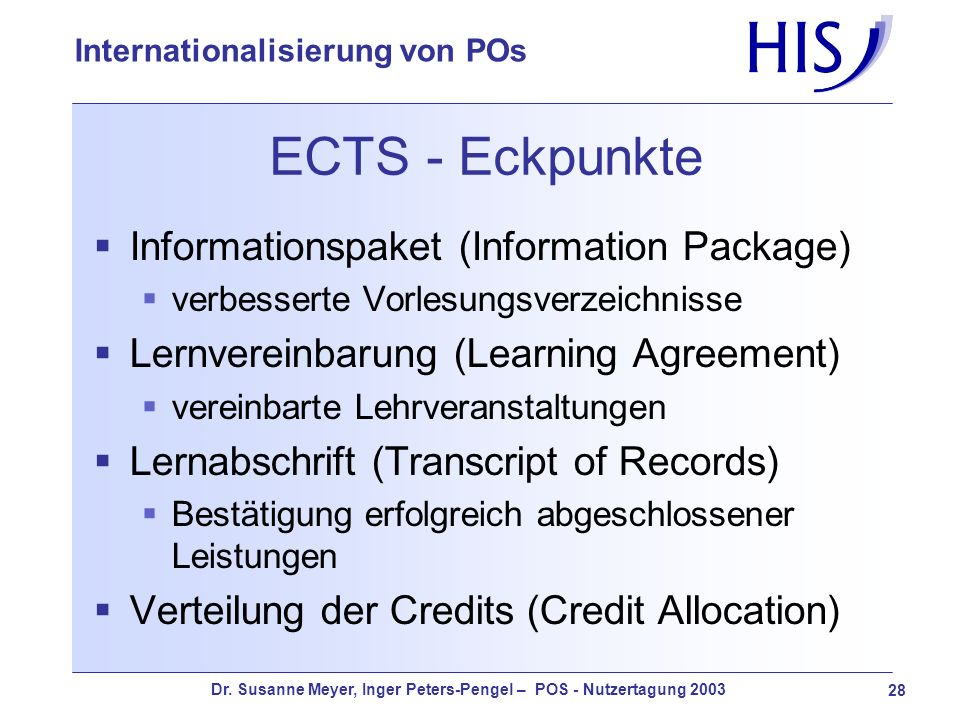 ECTS - Eckpunkte Informationspaket (Information Package)