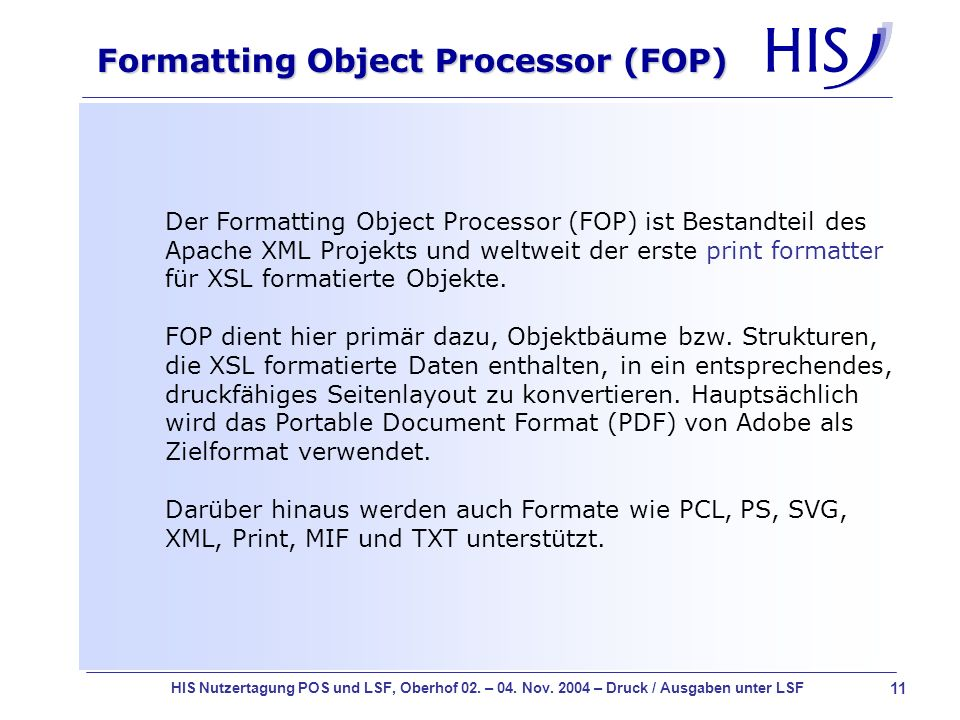 Formatting Object Processor (FOP)