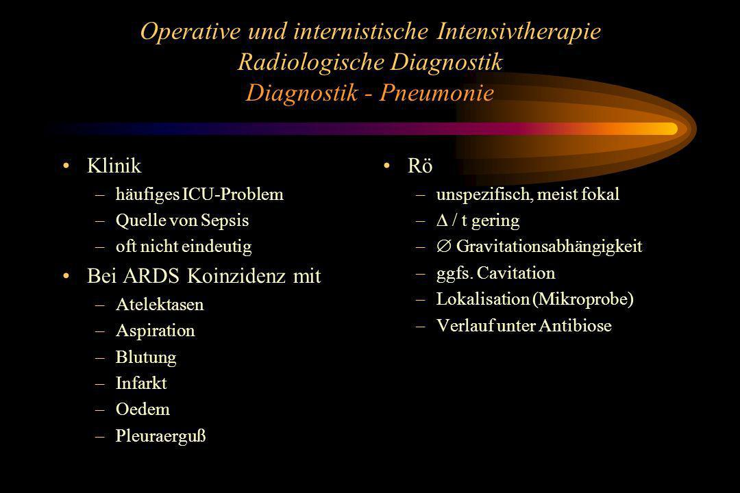 Operative und internistische Intensivtherapie Radiologische Diagnostik Diagnostik - Pneumonie