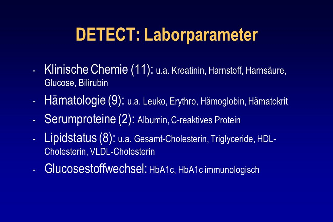 DETECT: Laborparameter