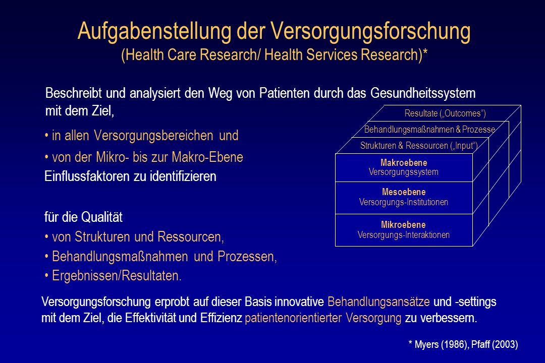 Aufgabenstellung der Versorgungsforschung (Health Care Research/ Health Services Research)*