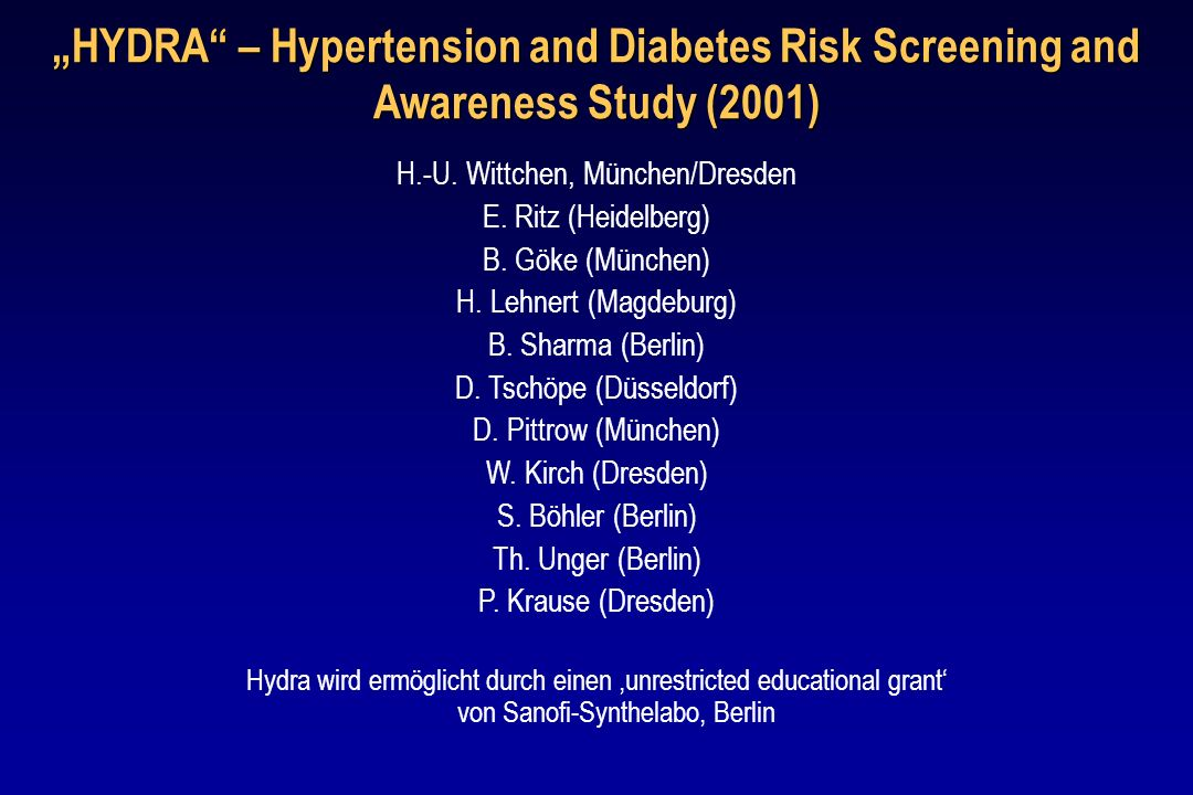 """HYDRA – Hypertension and Diabetes Risk Screening and Awareness Study (2001)"