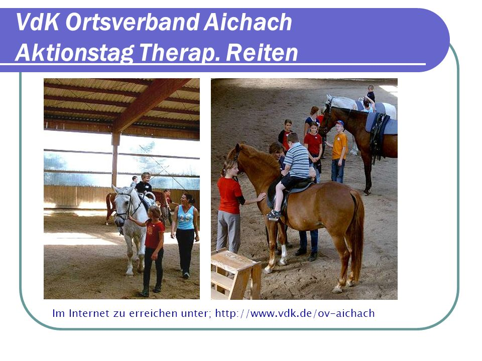 VdK Ortsverband Aichach Aktionstag Therap. Reiten