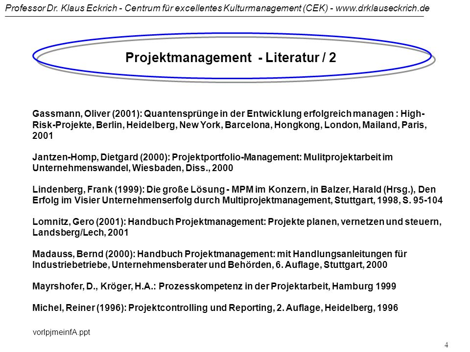 Projektmanagement - Literatur / 2