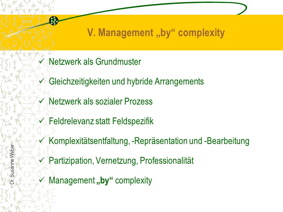 "V. Management ""by complexity"