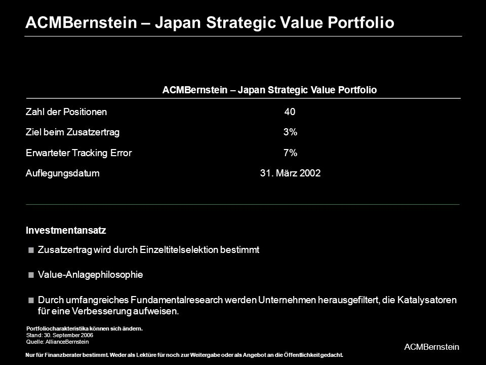 ACMBernstein – Japan Strategic Value Portfolio
