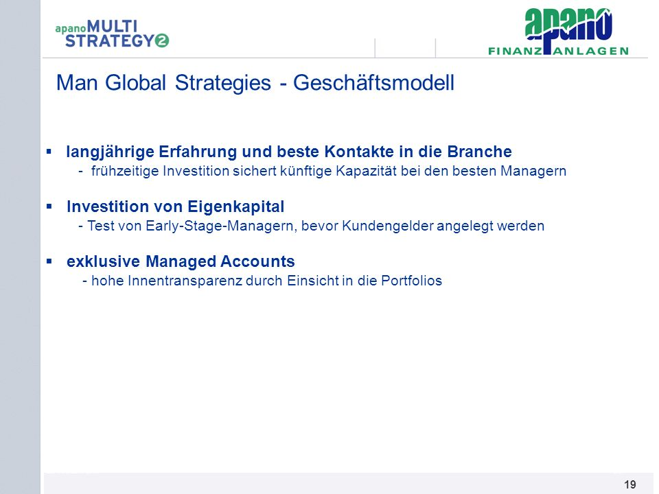 Man Global Strategies - Geschäftsmodell