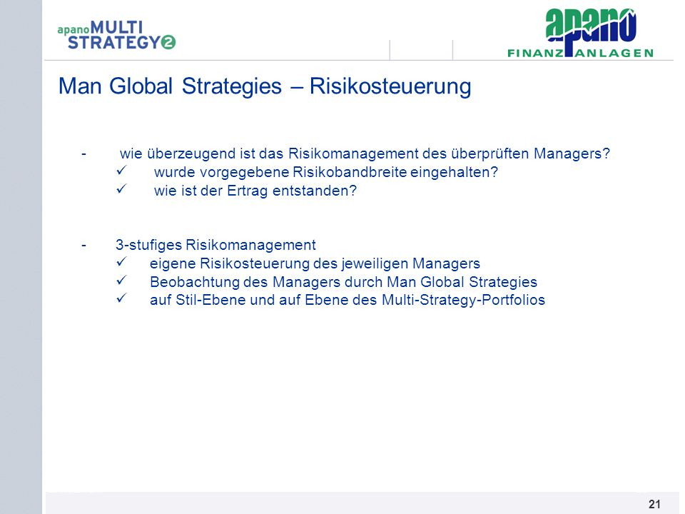 Man Global Strategies – Risikosteuerung