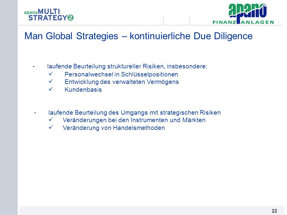 Man Global Strategies – kontinuierliche Due Diligence